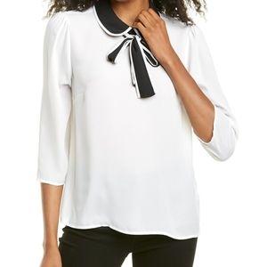 CeCe Black & White 3/4 Sleeve Tie Neck Blouse S